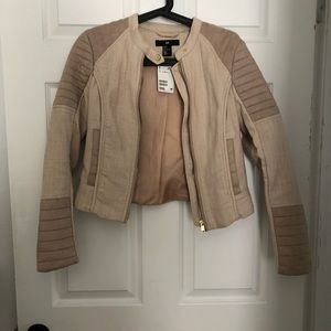 Chenille and suede blazer